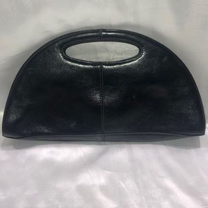 Black leather Hobo International clutch handbag